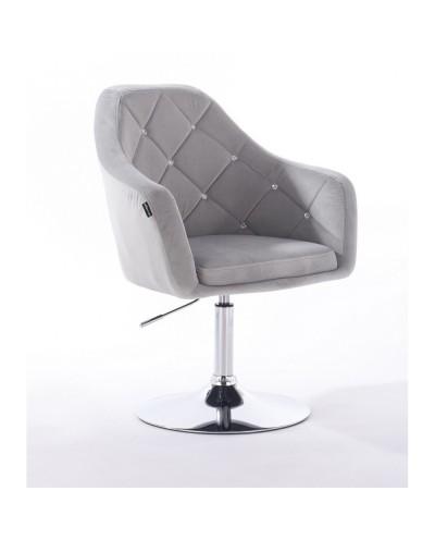 BLERM CRISTAL Krzesło tapicerowane welur stalowy - chromowany dysk