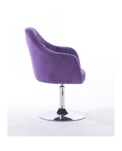 BLERM CRISTAL Fioletowe krzesło tapicerowane welur - chromowany dysk