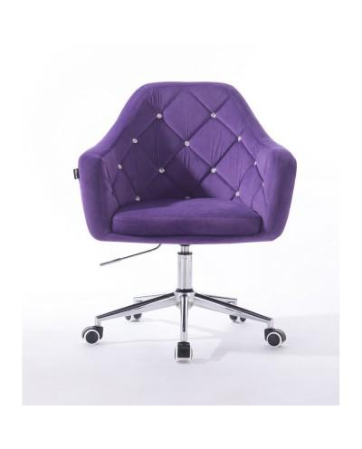 BLERM CRISTAL Fioletowy fotel na kółkach welur - chromowana podstawa kółka