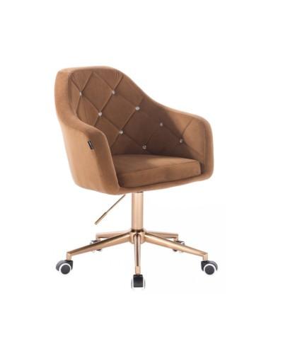 BLERM CRISTAL Krzesło na kółkach welur miodowy - złota podstawa kółka