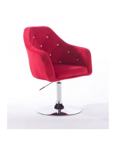 Czerwony fotel welur BLERM CRISTAL modny salon - chromowany dysk