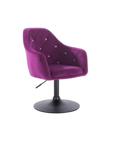 BLERM CRISTAL Fotel tapicerowany fuksja welur - czarny dysk