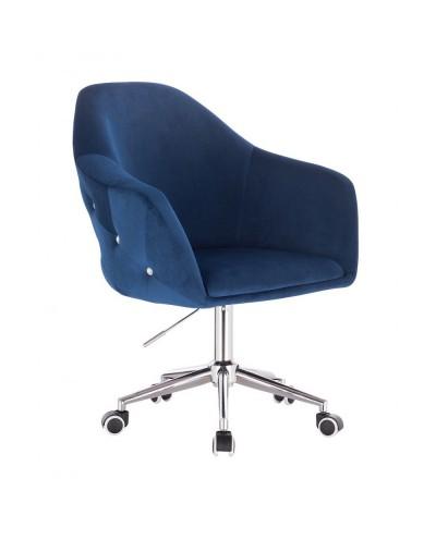 Fotel biurowy EDUARDO welur ciemne morze - chromowana podstawa kółka