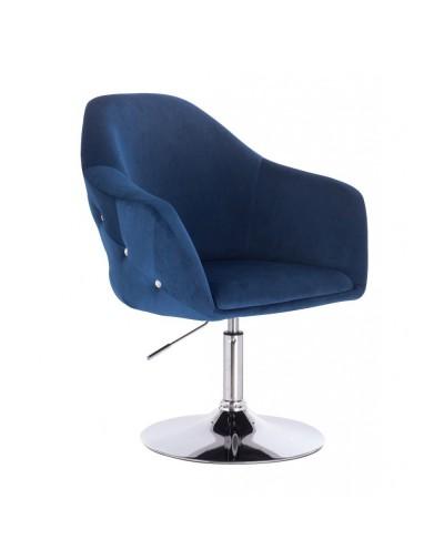 Krzesło tapicerowane EDUARDO welur ciemne morze - chromowany dysk