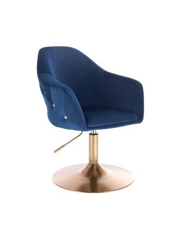 Fotel tapicerowany EDUARDO pokój welur ciemne morze - złoty dysk