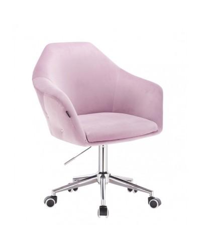 Fotel biurowy EDUARDO welur wrzosowy - chromowana podstawa kółka