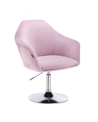 Krzesło tapicerowane EDUARDO welur wrzosowy - chromowany dysk