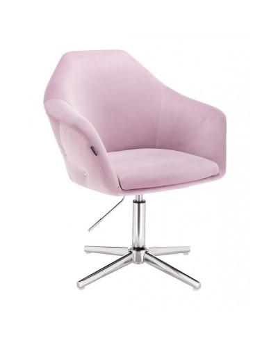 Fotel do salonu EDUARDO welur wrzosowy - krzyżak chromowany