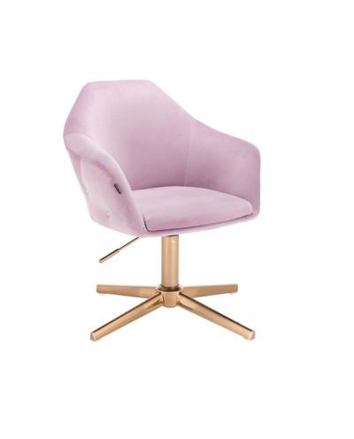 Fotel welur EDUARDO wrzosowy elegancki - złoty krzyżak