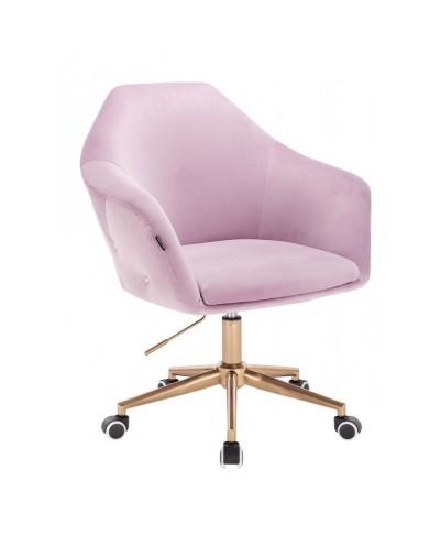 Fotel do biurka EDUARDO dla dziewczynki welur wrzos - złota podstawa kółka