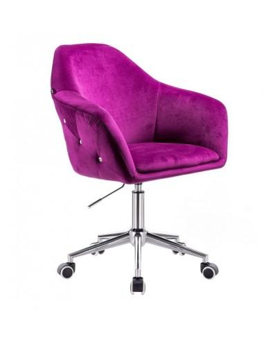 Fotel biurowy fuksja EDUARDO welur - kółka chromowana podstawa