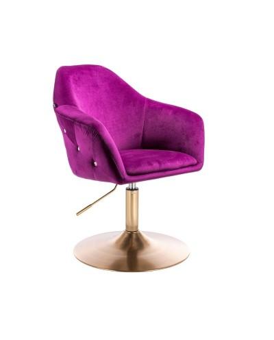 Fotel tapicerowany EDUARDO pokój fuksja welur - złoty dysk