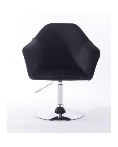 Krzesło czarne tapicerowane EDUARDO welur - chromowany dysk