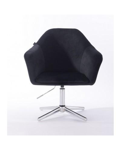 Fotel czarny do salonu EDUARDO welur - krzyżak chromowany