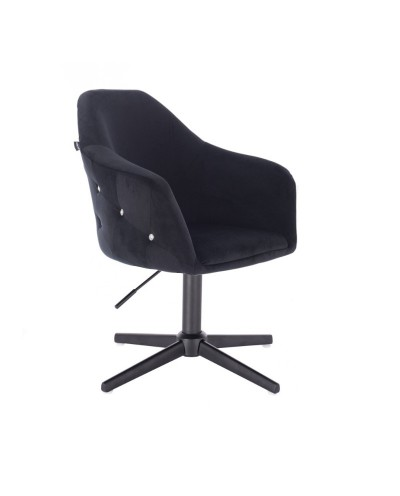 Elegancki fotel kolor czarny EDUARDO welur - czarny krzyżak