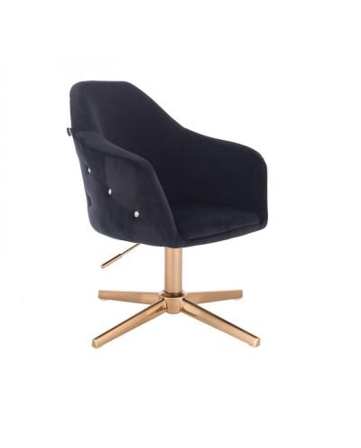 Fotel czarny EDUARDO obrotowy wypoczynkowy - złoty krzyżak