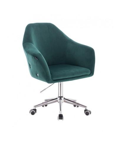 Fotel biurowy EDUARDO butelkowa zieleń welur - chromowana podstawa kółka