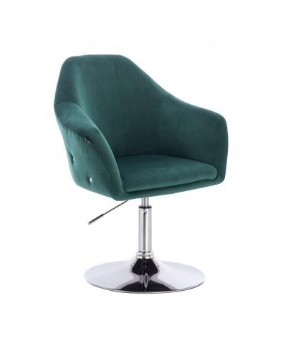 Krzesło tapicerowane EDUARDO butelkowa zieleń welur - chromowany dysk