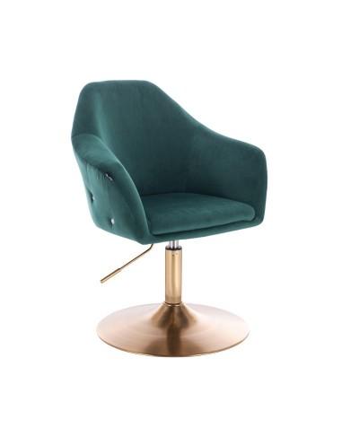 Fotel tapicerowany EDUARDO butelkowa zieleń welur - złoty dysk