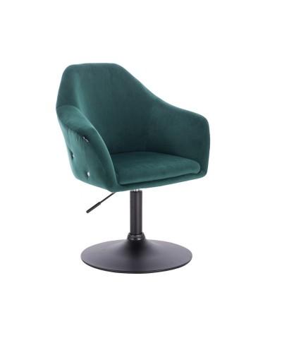 Fotel wypoczynkowy EDUARDO butelkowa zieleń welur - czarny dysk