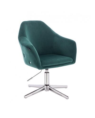 Fotel do salonu EDUARDO butelkowa zieleń welur - krzyżak chromowany