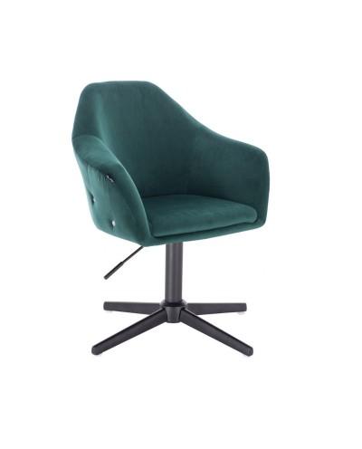 Elegancki fotel EDUARDO butelkowa zieleń welur - czarny krzyżak