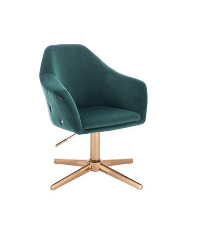 Fotel EDUARDO wypoczynkowy butelkowa zieleń - złoty krzyżak