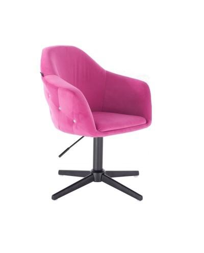 Krzesło tapicerowane EDUARDO malinowy welur - czarny krzyżak