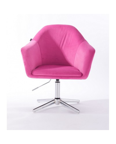 Fotel malinowy EDUARDO do salon - krzyżak chromowany