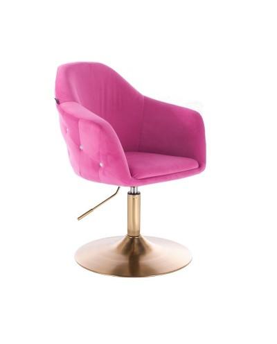 Fotel tapicerowany EDUARDO malinowy - złoty dysk