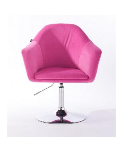Krzesło tapicerowane EDUARDO malinowy welur - chromowany dysk