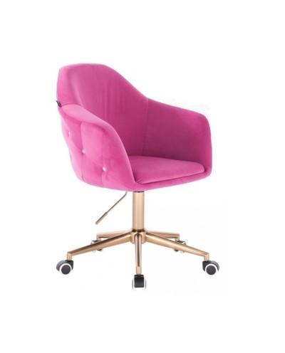Krzesło dla dziewczynki EDUARDO malinowe - złota podstawa kółka