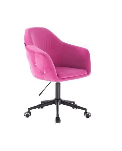 Fotel obrotowy do biurka EDUARDO malinowy - czarna podstawa kółka