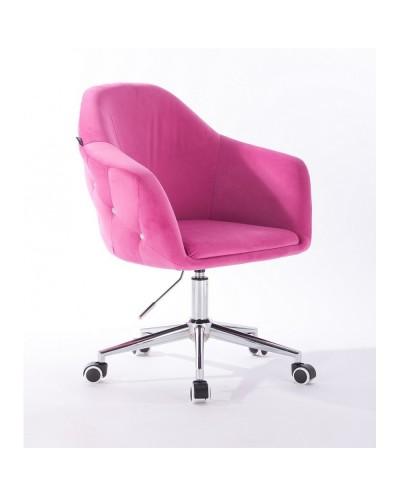Fotel biurowy EDUARDO malinowy - chromowana podstawa kółka