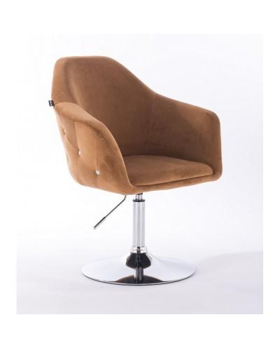 Fotel obrotowy EDUARDO miodowy - chromowany dysk