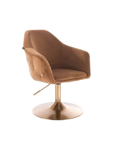 Fotel obrotowy EDUARDO miodowy - złoty dysk