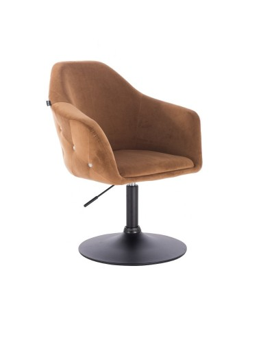 Fotel obrotowy EDUARDO miodowy - czarny dysk