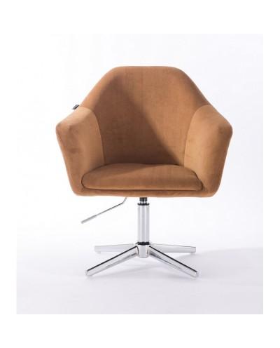Fotel obrotowy EDUARDO miodowy - krzyżak chromowany