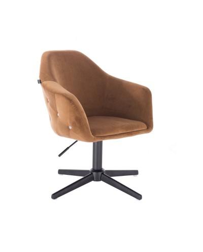 Fotel obrotowy EDUARDO miodowy - czarny krzyżak