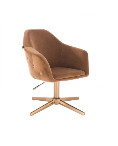 Fotel obrotowy EDUARDO miodowy - złoty krzyżak