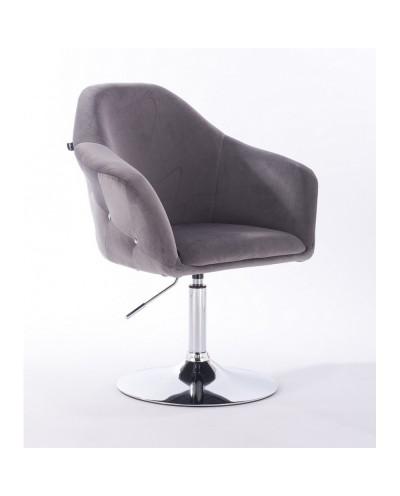 Fotel obrotowy EDUARDO grafitowy - chromowany dysk