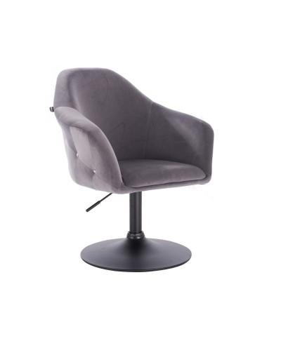 Fotel obrotowy EDUARDO grafitowy - czarny dysk