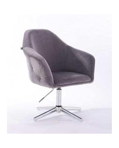 Fotel obrotowy EDUARDO grafitowy - krzyżak chromowany