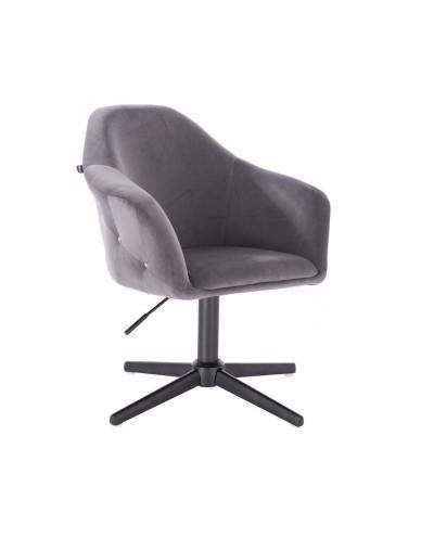 Fotel obrotowy EDUARDO grafitowy - czarny krzyżak