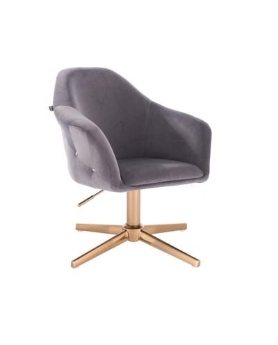 Fotel obrotowy EDUARDO grafitowy - złoty krzyżak