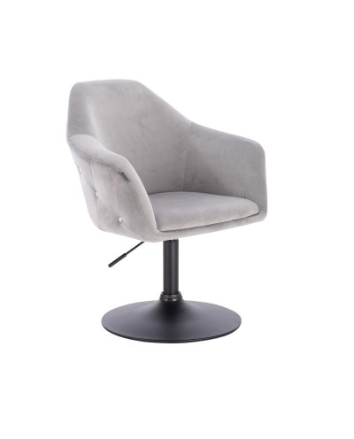 Fotel EDUARDO welur stalowy - czarny dysk