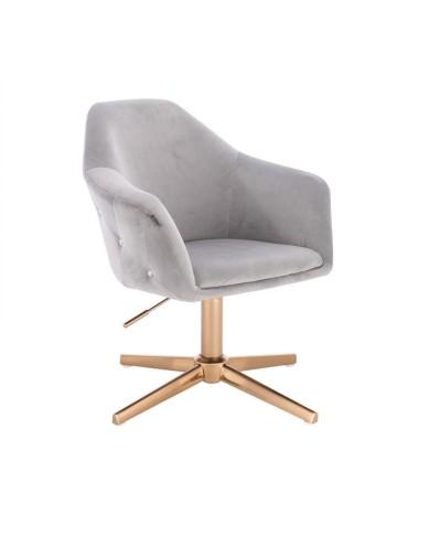 Fotel EDUARDO welur stalowy - złoty krzyżak
