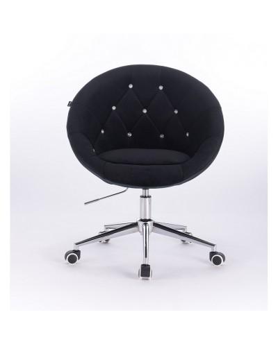 Czarne krzesło pikowane BLOM CRISTAL - chromowana podstawa kółka