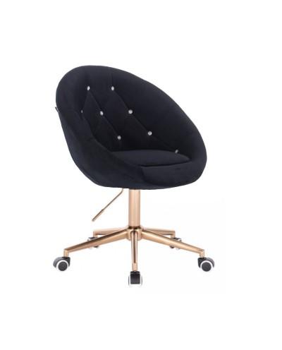 Krzesło czarne welur BLOM CRISTAL - złota podstawa kółka
