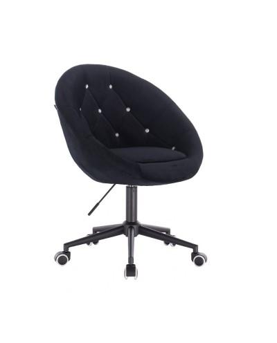 BLOM CRISTAL Czarne krzesło materiał welurowy - kółka kolor czarny